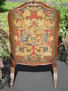 Antique Hand Carved Walnut Fire Screen with by battenbeehive, $242.00