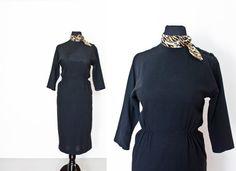 Vintage 1950s Dress  Leopard Trim Little by dejavintageboutique