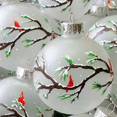 christmas ornament cardinals on branches snowing hand painted on frosted glass
