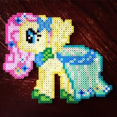 MLP Fluttershy Grand Galloping Gala perler beads by lizdejesus23