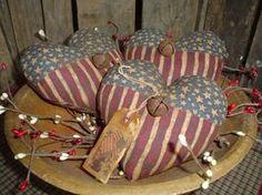 hearts Americana Crafts, Patriotic Crafts, July Crafts, Western Crafts, Holiday Crafts, Primitive Stitchery, Primitive Crafts, Country Primitive, 4th Of July Decorations