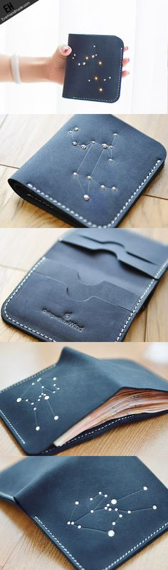 Handmade Leather short wallet purse women small wallet constellation - Tap the link to shop on our official online store! You can also join our affiliate and/or rewards programs for FREE! Leather Art, Leather Design, Vintage Leather, Custom Leather, Leather Jewelry, Leather Totes, Leather Wallets, Billfold Wallet, Purse Wallet