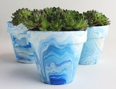 DIY Marbleized Terra Cotta Pots with Acrylic Paint