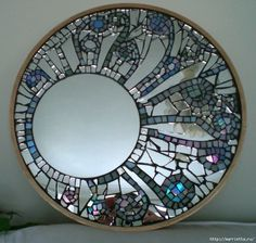 Cut coloured glass and mirror mosaic mirror frame - I like the uncut mirror being off centre. Mirror Mosaic, Mosaic Wall, Mosaic Glass, Mosaic Tiles, Mosaics, Mirror Tiles, Wall Mirrors, Mosaic Crafts, Mosaic Projects
