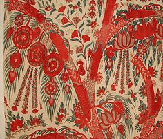 Palampore late 18th Century. India. Plain weave, mordant painted and dyed, resist dyed. - detail 4