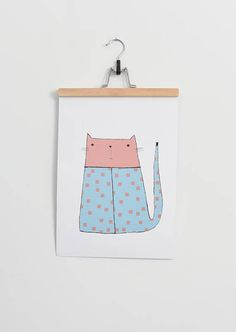 Poster for kids room sweet cat kitty poster. Wall decoration -scandi. Pastel colors cat.