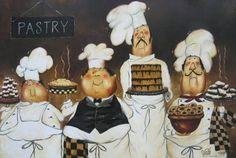Four Pastry Chefs Art Print fat chef wall art by VickieWadeFineArt
