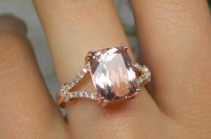 100 Dollars Off - Morganite Engagement Ring With Diamonds In 14K Rose Gold by stevejewelry on Etsy https://www.etsy.com/listing/157250074/100-dollars-off-morganite-engagement