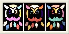 owls....cut outs on black cardstock, with tissue papers behind