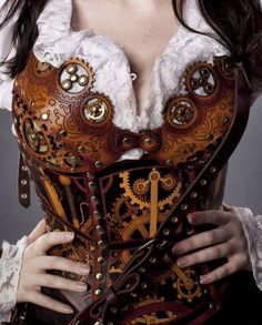 Hard leather custom-made steampunk clockwork corset. If only I was a few years younger.this would be my steampunk corset! Chat Steampunk, Costume Steampunk, Viktorianischer Steampunk, Design Steampunk, Steampunk Outfits, Steampunk Clothing, Steampunk Fashion, Gothic Fashion, Steampunk Crafts