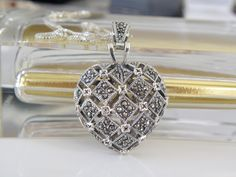 Vintage Sterling Silver 925 Heart Marcasite BIG Locket Poison Pendant Necklace #Handmade #Locket #SecretCompartmentJewelry #SecretCompartmentPendant #PrayerBoxPendant