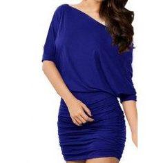 trendsgal.com - Trendsgal Batwing Sleeve One Shoulder Polyester Dress - AdoreWe.com