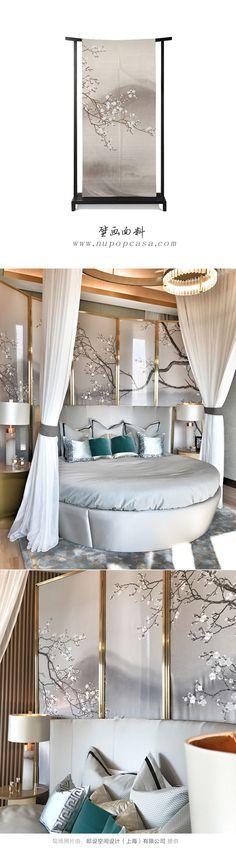 水墨艺术壁画面料--酒店室内设计应用:隔断、沙发背景、床背景、玄关、窗帘、屏风