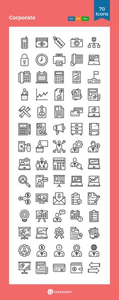 Corporate  Icon Pack - 70 Line Icons