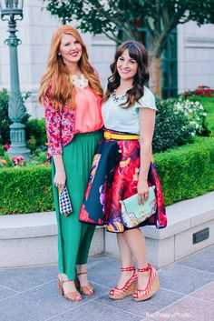 Statement necklaces: fabric flowers on @mckenzieg and gemstones on @Jennathewife1