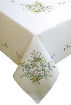 Tobin Forget Me Not Stamped Oblong Tablecloth for Embroid.Tobin Forget Me Not Stamped Tablecloth for Embroidery. Wow, I stitched one like this for my brother's wedding over 30 years ago!Stamped Tablecloth For Embroidery Kit Royal Mouline Floral Splen Embroidery Flowers Pattern, Silk Ribbon Embroidery, Embroidery Kits, Cross Stitch Embroidery, Machine Embroidery, Embroidery Designs, Cross Stitch Kits, Cross Stitch Patterns, Broderie Simple