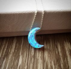 Opal moon necklace with 925 sterling silver by JasmineJewelryShop