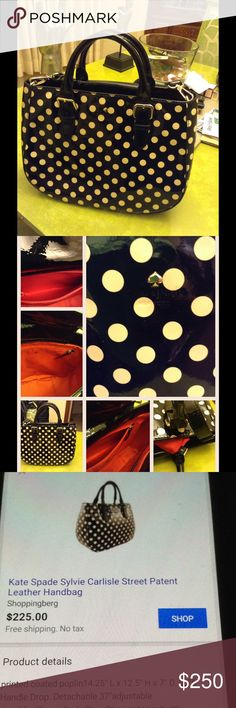 "Kate Spade polka dot Carlisle street Sylvie Very hard 2 find. For today's woman on the go.  Oh what a BEAUTIFUL Bag.The polka Dots are simply adorable. Removable, cross body strap 20"" drop. Open top with center snap button flap. Embossed LOGO with signature metal Spade at center.  Interior, solid fabric lining, 1 zip pocket and 2 open pockets. Weight about 2l lb. SOLD OUT EVERYWHERE! Only used maybe 3 times. kate spade Bags"