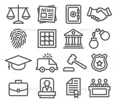 Law Line Icons by ihorzigor Law Line Icons. Editable EPS and Render in JPG format.