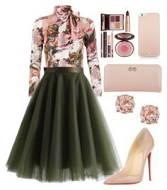 A fashion look from February 2016 featuring pink floral shirt, chicwish skirts and nude patent pumps. Browse and shop related looks. Look Fashion, Autumn Fashion, Womens Fashion, Mode Outfits, Dress Outfits, Classy Outfits, Stylish Outfits, Modest Fashion, Fashion Dresses