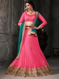 Pink Net Lehenga Choli with Diamond Work
