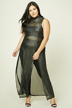 Forever - A sleeveless metallic sheer knit dress featuring a mock neckline, raw trim, and a high M-slit front. Model Outfits, Plus Size Shopping, Metallic Dress, Cute Fashion, Plus Size Women, Knit Dress, Plus Size Outfits, Plus Size Fashion, Latest Trends