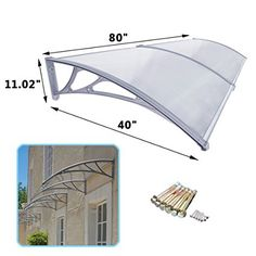 Super Deal DIY Outdoor Awning Door Canopy Patio Cover, 1m X 2m UV Rain Snow
