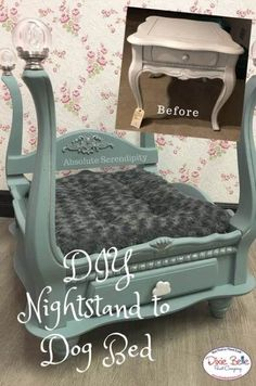Let your pets live in the lap of luxury with this awesome DIY dog bed! Absolute Serendipity created this masterpiece from an old nightstand and some Vintage Duck Egg Chalk Mineral Paint! See what you can do with Dixie Belle today and shop now! Diy Pet, Diy Dog Bed, Pet Beds Diy, Cat Beds, Dog Furniture, Repurposed Furniture, Furniture Stores, Cheap Furniture, Furniture Cleaning