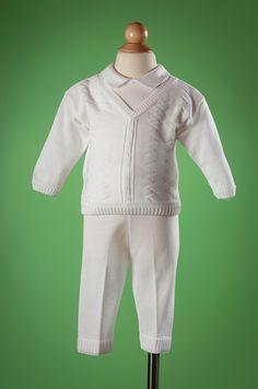 Boys Cotton Knit Two Piece Christening Pant Set CKNIT2