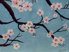 Blooming branches / flower blossoms painting