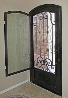 Iron Entry Doors - modern - front doors - phoenix - First Impression Security Doors -I love this so much more than a screen door! Iron Front Door, Modern Front Door, Front Door Entrance, Exterior Front Doors, Entry Doors, Beautiful Front Doors, Modern Entry, Front Entry, Casa Patio