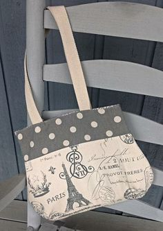 Paris handbag, Effiel tower purse, shoulder strap purse, gray purse by OnceUponARoll for $45.00#zibbetflash