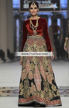 http://theheer.com/store/products.php?product=BW6024-Bulgarian-Rose-Dark-Jungle-Green-Velvet-Crinkle-Chiffon-Lehenga