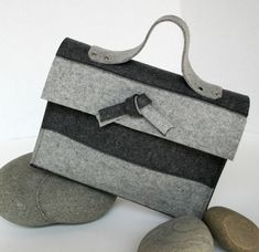 Felt Purse in Gray and Black Merino Wool Jackie O Style.