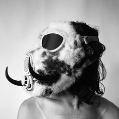 Horned Rabbit Fur Gas Mask by theaccretion on Etsy, $250.00
