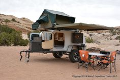 The Moby XTR - Designed for rugged off-roading and outdoor adventure; features built-in speakers, A/C, hardwood cabinetry, fridge/freezer, and a rooftop tent with, no joke, heated beds