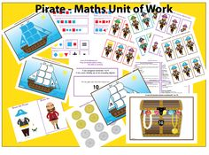 This maths unit of work is based on a pirate theme.  Everything is ready made for you to use, including 132 question cards.  All you need to do is read the question from the card.