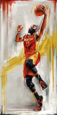 James Harden, Houston Rockets by Robert Bruno. Rockets Basketball, Basketball Memes, Custom Basketball, Basketball Posters, Basketball Art, Basketball Pictures, Basketball Jersey, Basketball Tattoos, Nba Pictures