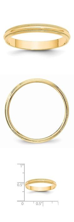 Bands without Stones 92852: 14K Yellow Gold 3Mm Ltw Milgrain Half Round Mens Womens Wedding Band Size 10 -> BUY IT NOW ONLY: $102.18 on eBay!