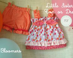 way too cute!love the orange colores!..dress with underpants! cute baby girl dress patterns - Google Search
