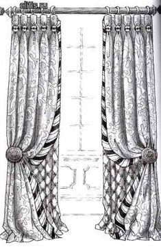 шторы с подшторником и декоративным кантом