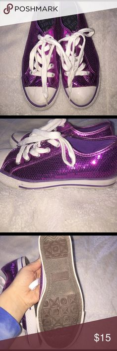Sequin Sneakers Cute pink sequin converse sneakers. Barely worn really good condition! Gotta Flurt Shoes Sneakers