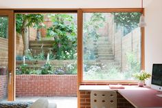 Herringbone parquet and stained ply cabinetry feature in London extension by Nimtim Architects (Dezeen) Terraced House, Terraced Garden, Brick Extension, Rear Extension, 1960s House, Chevrons, Roof Architecture, London House, Victorian Terrace