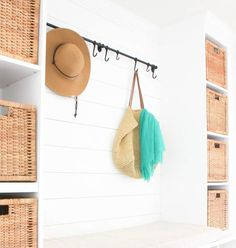 Mudrooms don't have to be huge to be powerful! See how we created our mudroom bench and shoe storage, plus how we organized the mudroom for maximum impact. Mudroom, mudroom storage, mudroom organization, mudroom ideas, mudroom ideas entryway, mudroom entryway, mudroom bench, small spaces, minimal home design