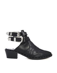 Senso Levi Black Croc Print Cut Out Ankle Boots