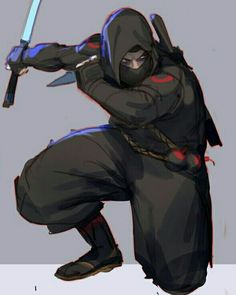 Arte Ninja, Ninja Art, Superhero Characters, Fantasy Characters, Ninja Japan, Samurai Artwork, Fighting Poses, Shadow Warrior, Dark Art Drawings