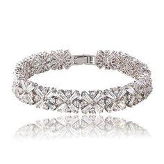 Gorgeous Cubic Zirconia CZ Snowflake Bracelet, Bridal, Wedding (Sparkle-1831-U)