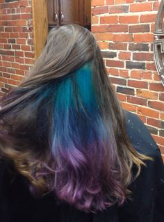 Turquoise, blue, and purple underlights. Done at Christian Roberts in Norwalk, OH