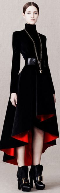 PRE-FALL 2013  Alexander McQueen- Hate the red at the bottom tho. Love the face and the silhouette