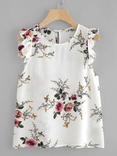 Shop Frilled Armhole Button Closure Back Shell Top online. SheIn offers Frilled Armhole Button Closure Back Shell Top & more to fit your fashionable needs. Floral Blouse, Floral Tops, Frill Blouse, Fashion Clothes, Fashion Dresses, Clothes Women, Latest Fashion For Women, Womens Fashion, Girl Tops Fashion